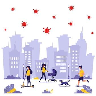 Menschen, die während der pandemie outdoor-aktivitäten ausführen. joggen in maske, gehen in maske mit hund, gehen in maske mit baby.