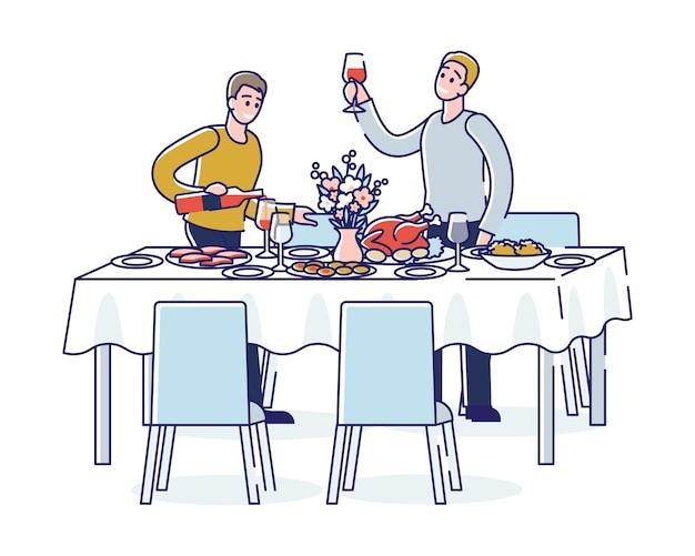 Menschen, die während des feiertagsereignisses oder der firmenbankett-feier-party anstoßen