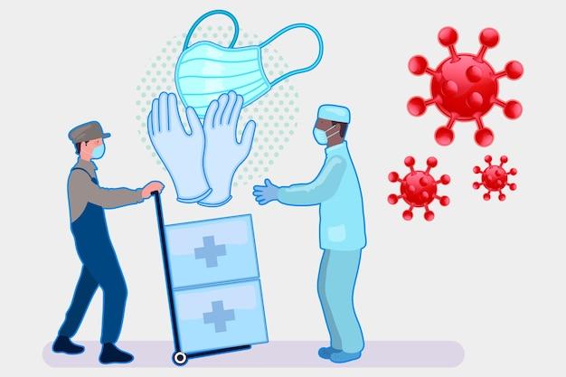 Menschen, die während einer pandemie helfen