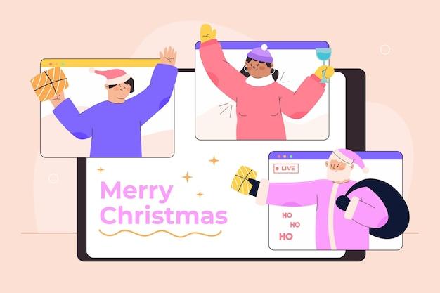Menschen, die weihnachten online feiern, wegen quarantäne