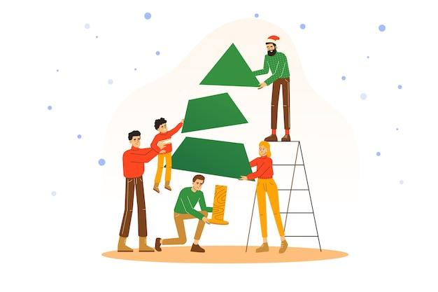 Menschen, die weihnachtsbaum zusammen machen und neujahrsfeiertag feiern