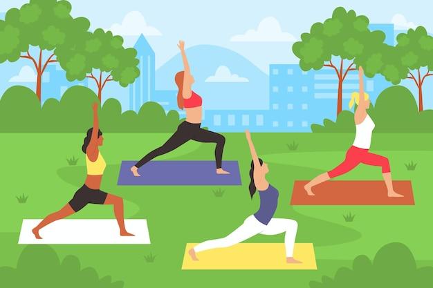Menschen, die yoga im freien machen