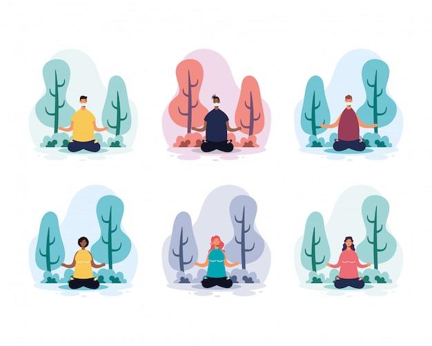 Menschen, die yoga im park praktizieren