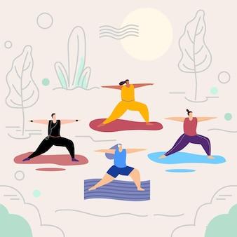 Menschen, die yoga mit matten machen