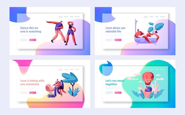 Menschen, die zeit miteinander verbringen landing page. glückliche familie mit kinderwagen. tanzende paarfiguren, liebhaber im luftballon für website oder webseite. flache karikatur-vektor-illustration