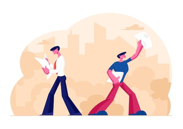 Menschen, die zeitungen lesen und verkaufen. geschäftsmann charakter lesen sie nachrichten, während sie bei der arbeit gehen. karikatur flache illustration