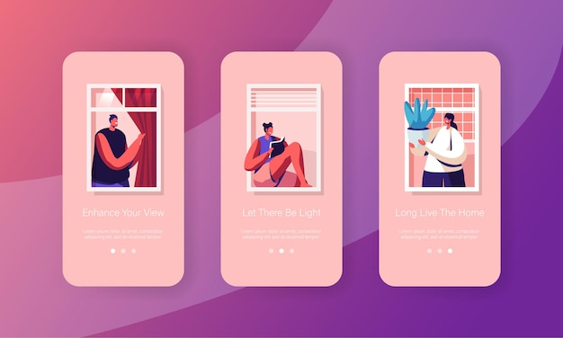 Menschen, die zu hause leben mobile app seite onboard screen set.