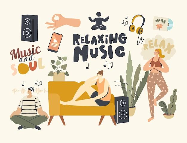 Menschen, die zu hause meditieren, entspannende musik hören. charaktere sitzen in yoga lotus pose und liegen auf dem sofa. gesunder lebensstil, entspannung emotionaler ausgleich, freizeit, harmonie. lineare vektorillustration