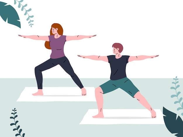 Menschen, die zuhause drinnen trainieren. yoga und fitness, gesunder lebensstil.