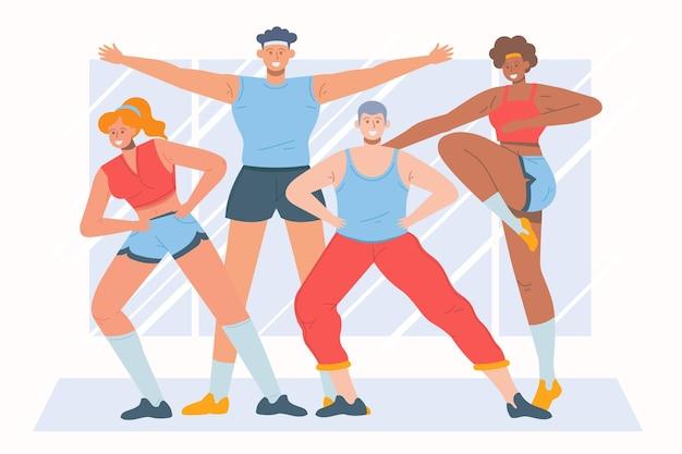 Menschen, die zusammen an einem fitness-tanzkurs teilnehmen Premium Vektoren