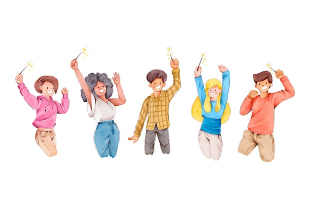 Menschen, die zusammen feiern, haben glückliche gesichter