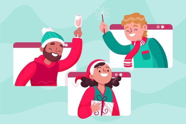 Menschen, die zusammen weihnachten auf einem videoanruf feiern