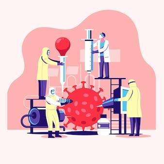 Menschen, die zusammenarbeiten, um einen impfstoff gegen coronavirus zu finden