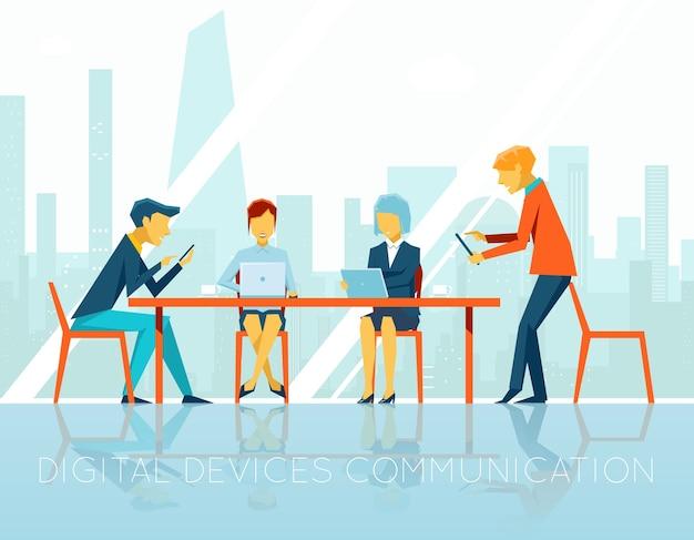 Menschen digitale geräte kommunikation. geschäftsfrau und geschäftsmann, teamwork-leute, digitale technologie, gerätekommunikation, web-internet, vektorillustration