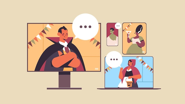 Menschen diskutieren während des videoanrufs happy halloween party coronavirus quarantäne online-kommunikation männer frauen in verschiedenen kostümen auf digitalen geräten bildschirme porträt horizontale vektor-illustration