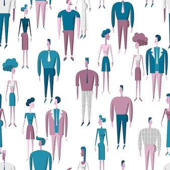 Menschen drängen sich nahtloses muster mit verschiedenen charakteren von männern und frauen.