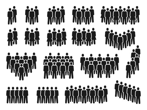 Menschen drängen sich symbole. gruppe von personen, die sich versammeln, männer- und frauenschattenbild. mitarbeiterteam, bürger oder soziale gemeinschaft piktogramme vektorsatz. abbildung menschenmenge nicht erkennbare silhouette