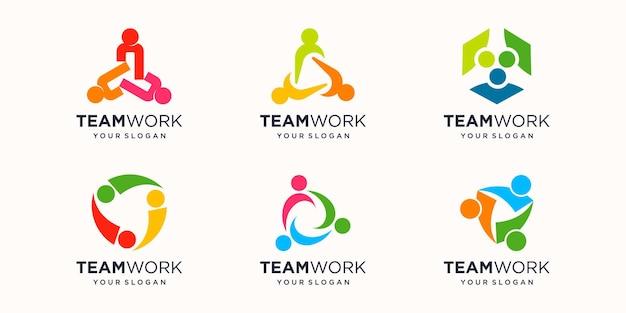 Menschen einheit zusammen teamwork logo symbol vektor