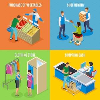 Menschen einkaufen, gemüse einkaufen, schuhe kaufen, kassierer einkaufen