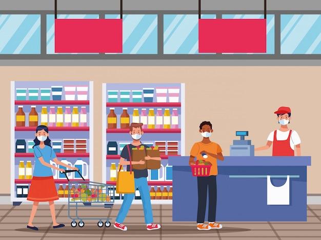 Menschen einkaufen im supermarkt mit gesichtsmaske vektor-illustration design