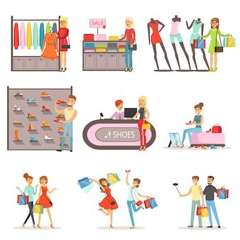 Menschen einkaufen und kaufen kleidung und schuhe set, bekleidungsgeschäft interieur bunte illustrationen