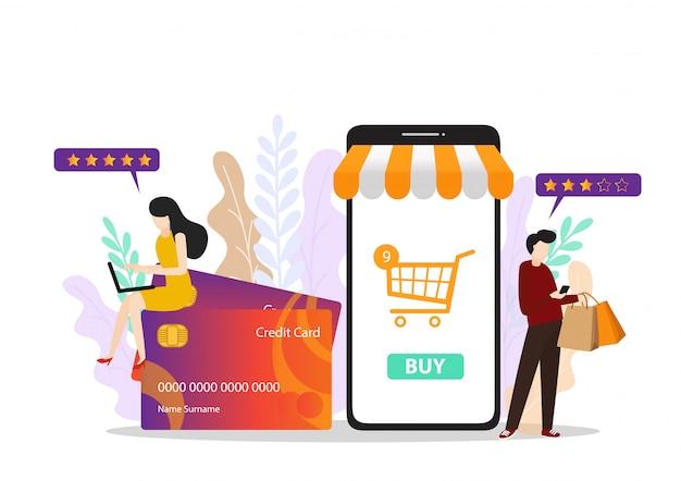 Menschen einkaufen website banner