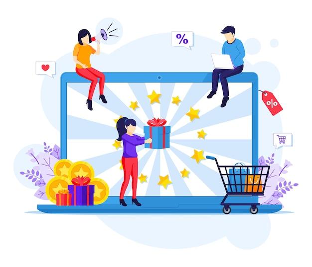 Menschen erhalten eine geschenkbox von einem marketing-treueprogramm