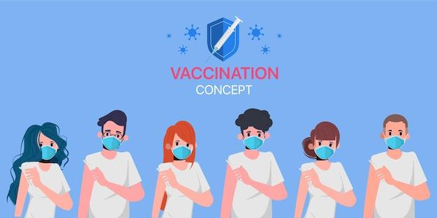 Menschen erhalten im krankenhaus einen covid-19-impfstoff, der vor viren geschützt ist.
