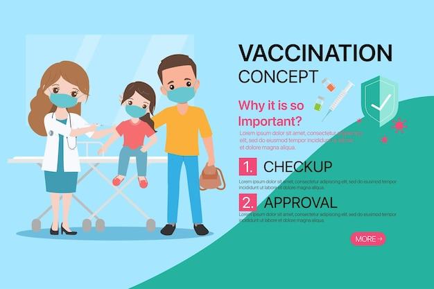 Menschen erhalten impfstoffe beim arzt, um sich vor viren zu schützen.