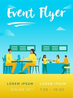 Menschen essen in food court cafeterias flyer vorlage