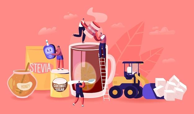 Menschen essen natürliche süßstoffe konzept. karikatur flache illustration