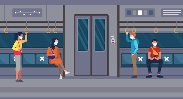 Menschen fahren mit dem gesundheitsprotokoll mit öffentlichen verkehrsmitteln menschen im zug, die eine gesichtsmaske tragen und soziale distanz pflegen. menschen halten körperliche distanz, um covid in einem flachen stil zu verhindern