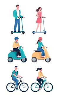 Menschen fahren moderne elektroroller fahrräder mopeds