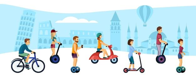 Menschen fahren umweltfreundliche transportillustration. aktive männliche und weibliche charaktere fahren mit gyroscootern und fahrrädern durch die stadt und fahren auf hochgeschwindigkeitsrollern auf der straße. vektor-cartoon-sport.