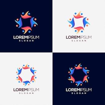 Menschen farbverlauf logo-design