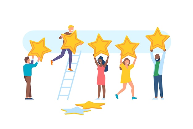 Menschen-feedback. fröhliche männer- und frauencharaktere mit großen sternen, bewertungsbewertung, app-ranking, benutzer geben punkte für service und positives bewertungsvektorset