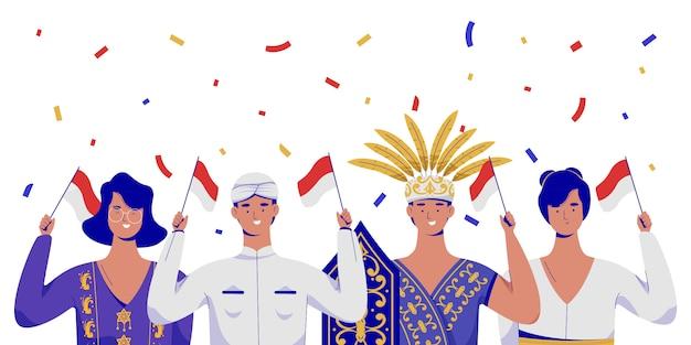 Menschen feiern den unabhängigkeitstag indonesiens mit traditioneller kleidung.