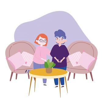 Menschen feiern, freunde treffen, zusammen im wohnzimmer paaren