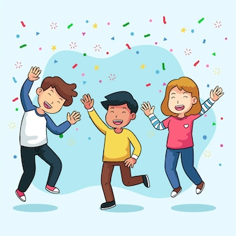 Menschen feiern gemeinsam design