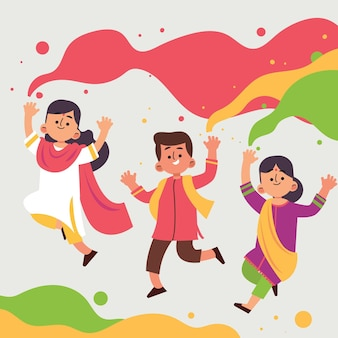 Menschen feiern holi festival illustration