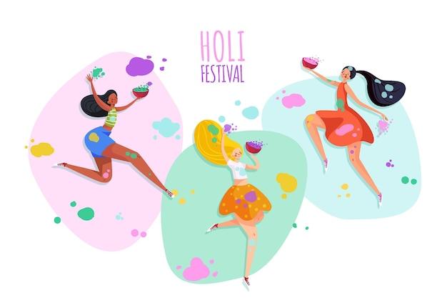 Menschen feiern holi festival mit pulver