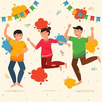 Menschen feiern holi festival thema
