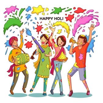 Menschen feiern holi festival