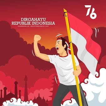 Menschen feiern indonesien 76. unabhängigkeitstag oder dirgahayu kemerdekaan indonesien ke 76 Kostenlosen Vektoren