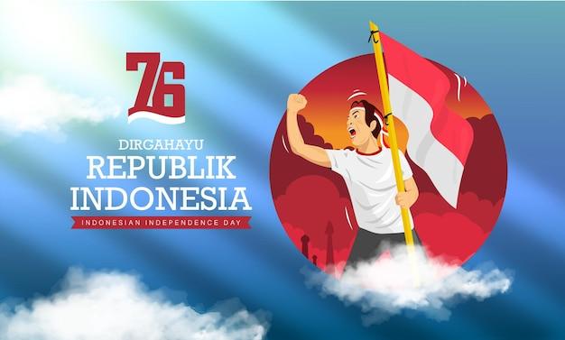 Menschen feiern indonesien 76. unabhängigkeitstag oder dirgahayu kemerdekaan indonesien ke 76