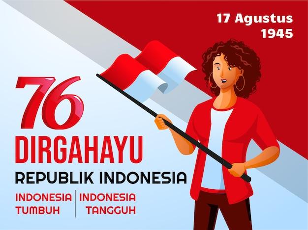Menschen feiern indonesischen unabhängigkeitstag dirgahayu hari kemerdekaan indonesien