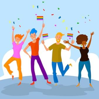 Menschen feiern stolz tag illustration