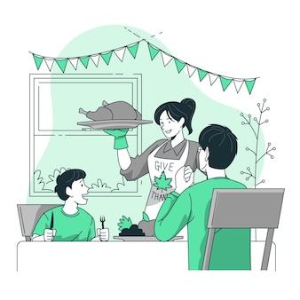 Menschen feiern thanksgiving-konzept illustration