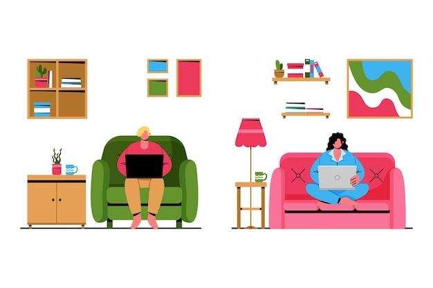 Menschen fernarbeit illustriert