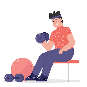 Menschen fitness mit hantel